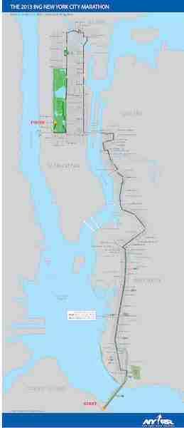 Mappa percorso maratona di New York