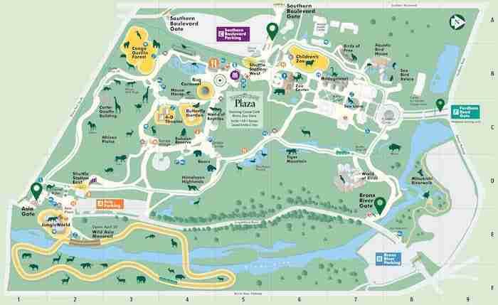 Mappa dello zoo del Bronx