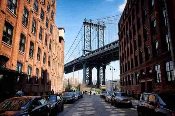 Il ponte di Manhattan visto dal quartiere di Dumbo, Brooklyn