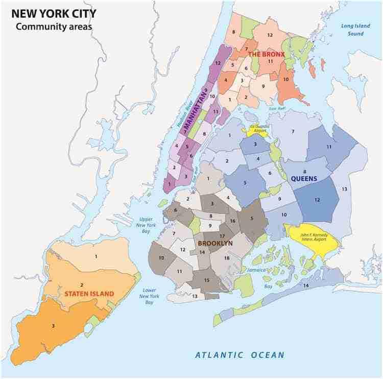 Mappa dei 5 distretti di New York