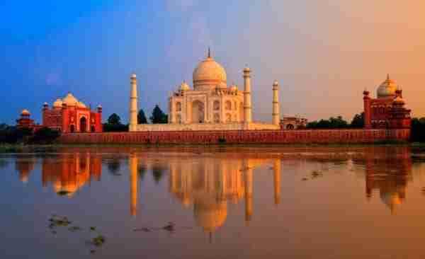 Taj Mahal, Agra, India, al tramonto